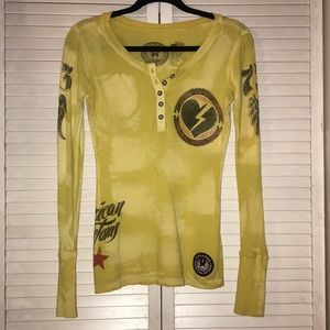 Yellow Affliction Thermal Henley! Size Small!